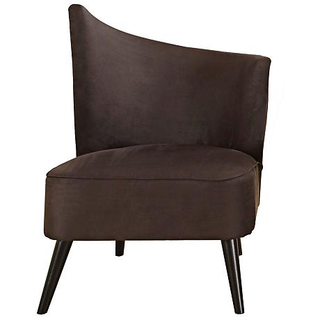 Flared Back Left Black Microfiber Accent Chair