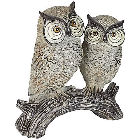 """Wood Owls on a Log 9 1/4"""" High Sculpture"""