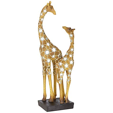 "Giraffe Mother with Baby 18 1/2"" High Sculpture"