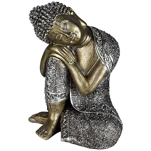 "Sleeping Buddha Silver 9 1/4"" High Sculpture"