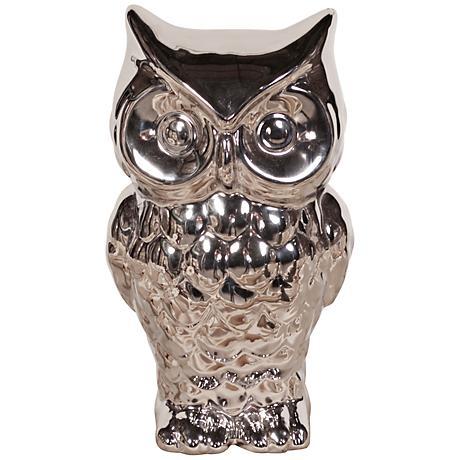 """Howard Elliott Nickel Plated 11"""" High Ceramic Owl"""