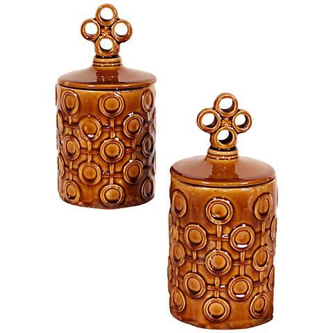 "Howard Elliott Set of 2 Mocha Textured Lidded 12"" High Jars"