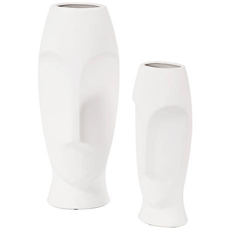 "Howard Elliott 2 Piece Abstract Faces 18"" High Ceramic Vases"