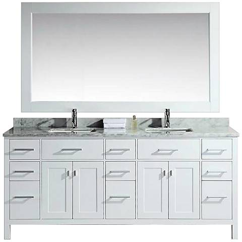 """London 78"""" Wide Marble White Double Sink Vanity"""
