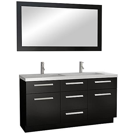 "Moscony 60"" Wide Dark Espresso Double Sink Vanity"