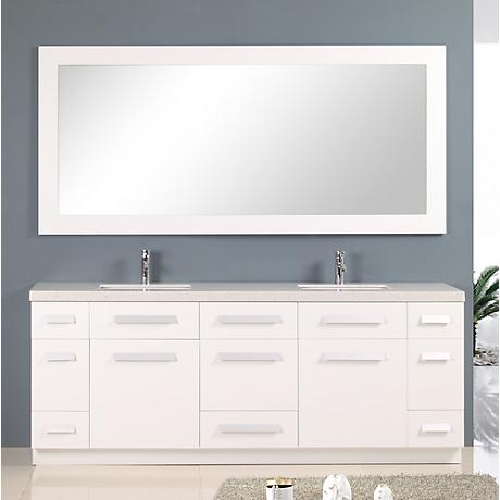 """Moscony 84"""" Wide Rich White Double Sink Vanity Set"""