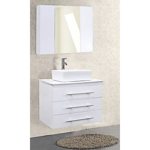 "Portland White 30"" Wide Single Sink Floating Vanity Set"