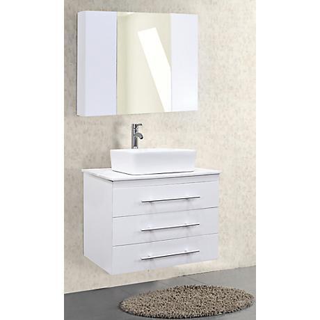 "Portland White 30"" Wide Single Sink Floating Vanity Set"