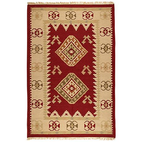Southwest 4x6 Red/Beige Dhurry Rug