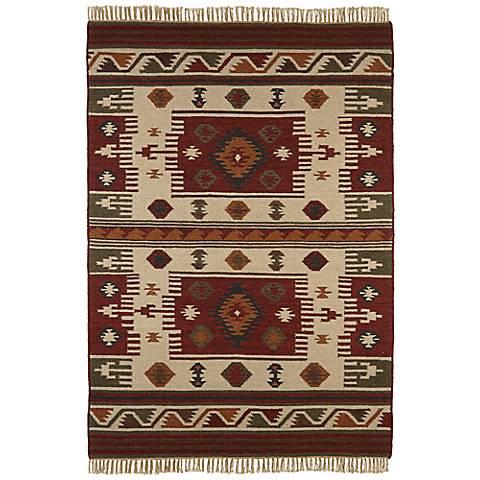 Southwestern Red/Beige Woolen Dhurry Rug