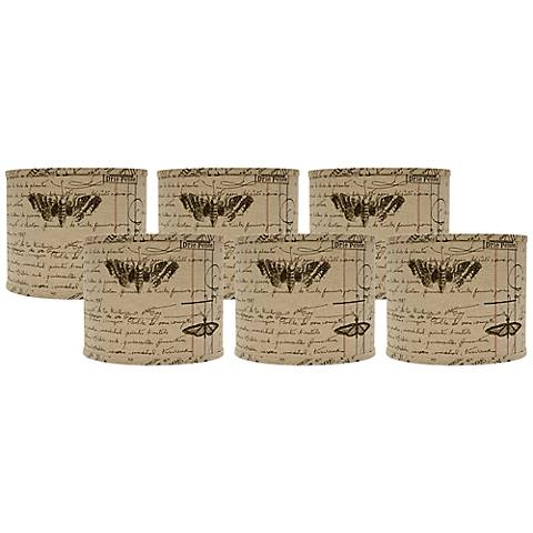 Set of 6 Antique Ledger Fossil Lamp Shade 5x5x4.5 (Clip-On)