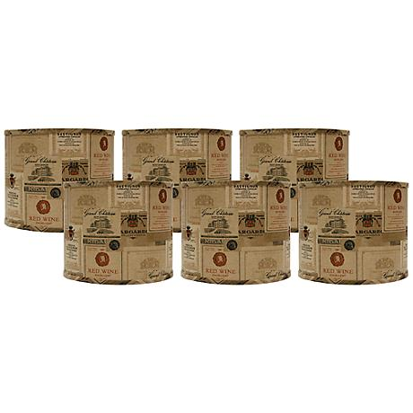 Set of 6 Wine Labels Drum Lamp Shade 5x5x4.5 (Clip-On)