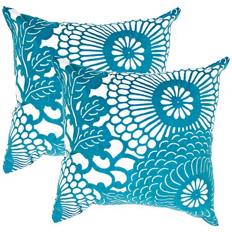 Teal And Cream Decorative Pillows : Set of 2 Textural Cream and Teal Blue 18