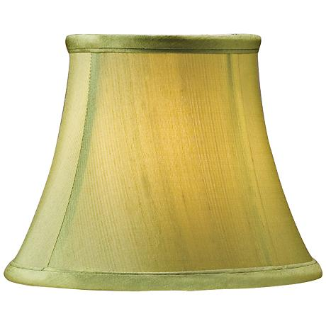 Green Shantung Bell Lamp Shade 3x5x4 (Clip-On)