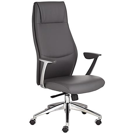 Martin Gray Faux Leather High Back Aluminum Office Chair