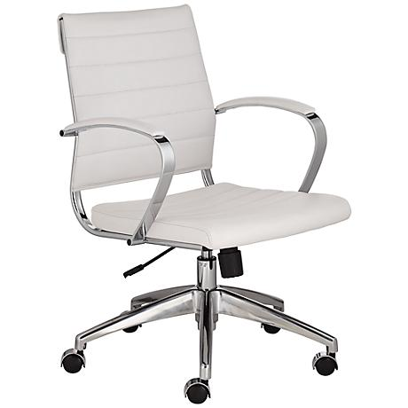 Medina Low Back White Faux Leather Office Chair