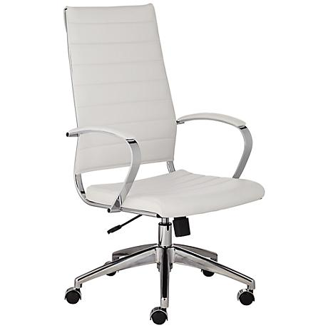 Medina High Back White Faux Leather Office Chair