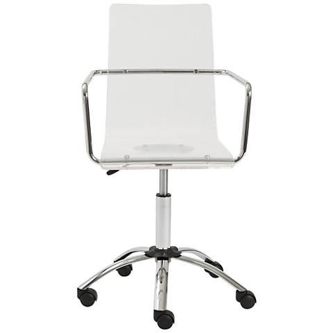 Chloe Chrome and Acrylic See-Through Clear Office Chair