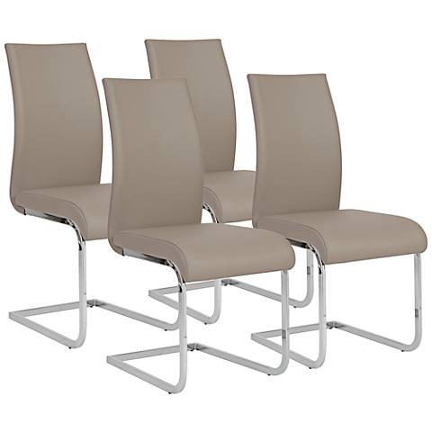 Set of 4 Epifania Taupe Leatherette Side Chairs