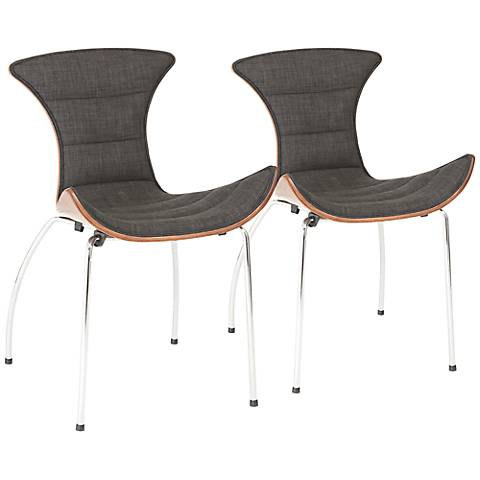 Set of 2 Stefano Gray and Black Walnut Side Chairs