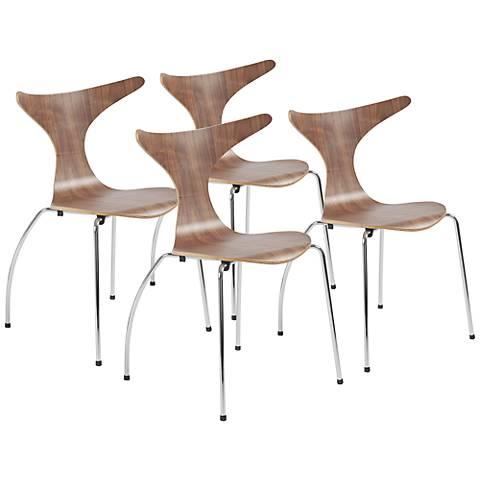 Set of 4 Frida Laminated Walnut Side Chairs