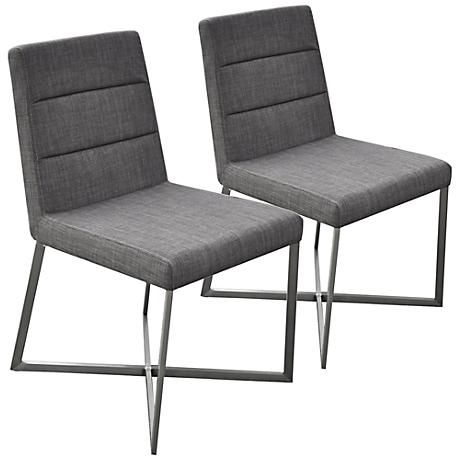 Set of 2 Tosca Dark Gray and Stainless Steel Side Chairs