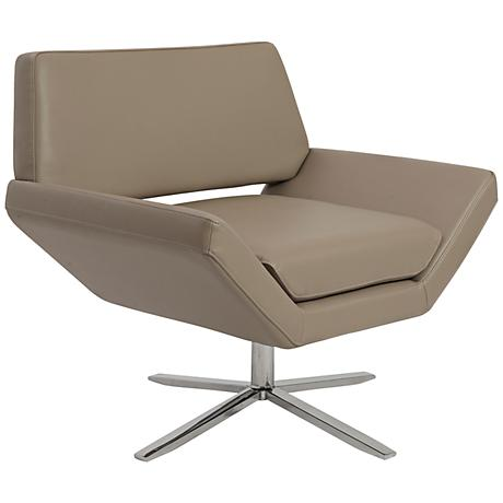 Carlotta Taupe Leatherette Lounge Chair