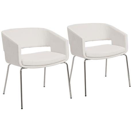Set of 2 Amelia White Leatherette Lounge Chairs