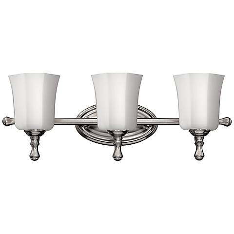 "Hinkley Shelly 24"" Wide Brushed Nickel Bathroom Light"