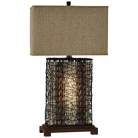 Free Port Rattan Wire Wood Table Lamp