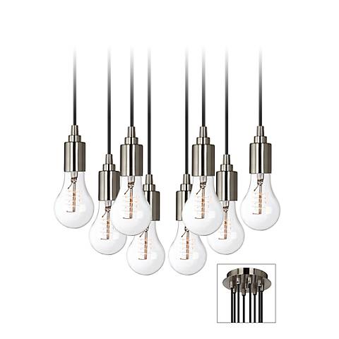 Europa Classic Edison Bulb Brushed Nickel Multi Light Pendant