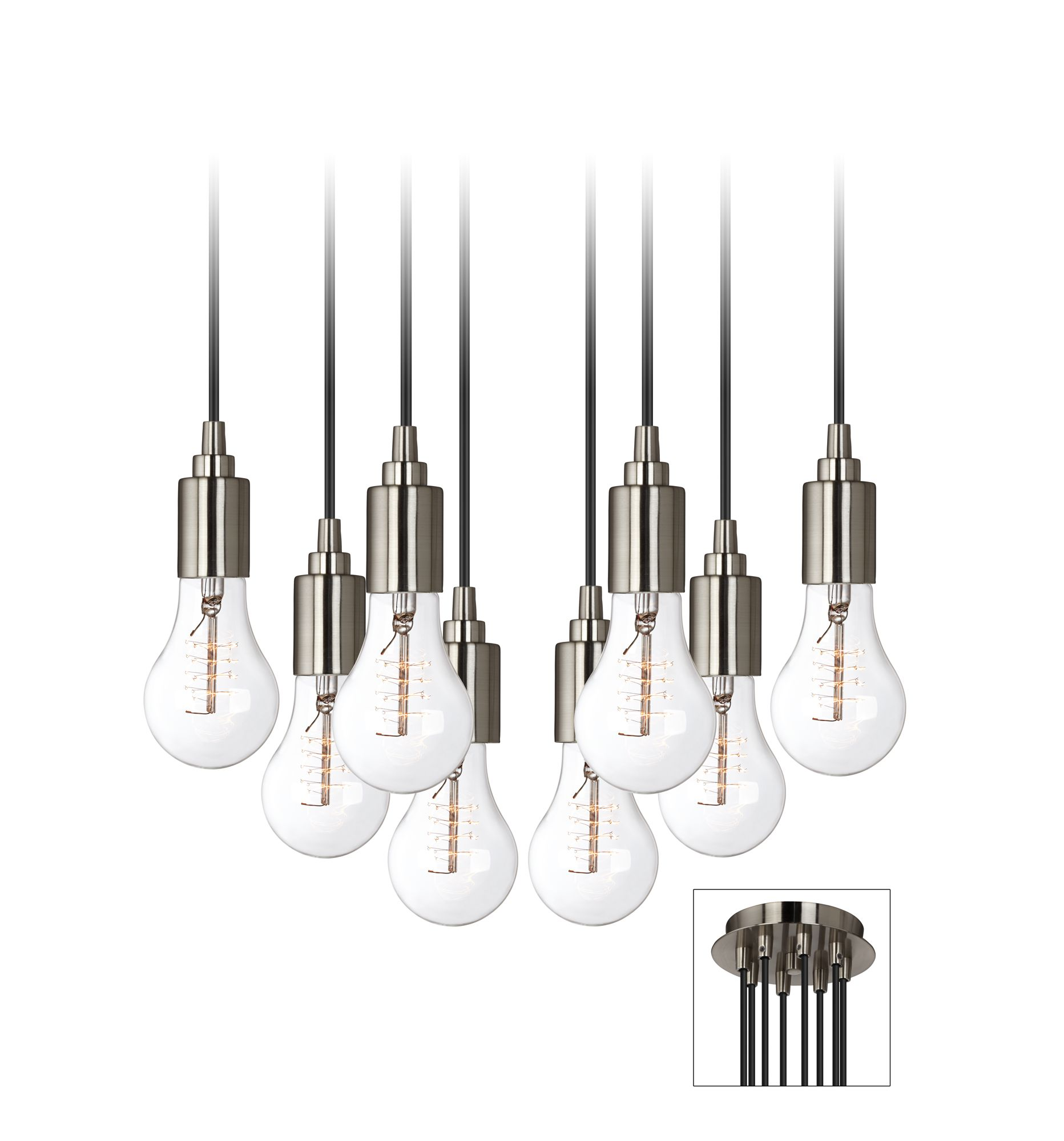 shop allen roth 646in w brushed nickel mini pendant light wi