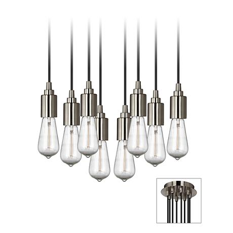 Europa 1910 Edison Bulb Brushed Nickel Multi Light Pendant