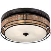 "Laguna 16""W Renaissance Copper Ceiling Light w/ Mica Shade"