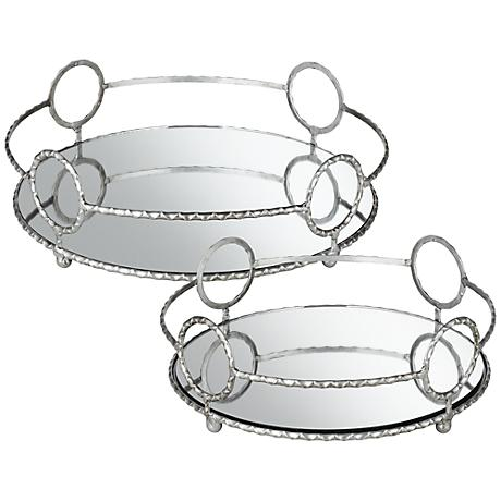 Alayah Set of 2 Contemporary Mirrored Trays