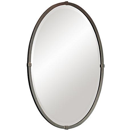 "Hubbardton Forge 32"" High Bronze Oval Wall Mirror"