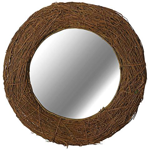 "Kenroy Home Harvest Natural Rattan 33"" Round Wall Mirror"