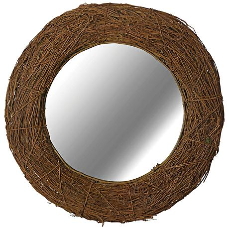 """Kenroy Home Harvest Natural Rattan 33"""" Round Wall Mirror"""