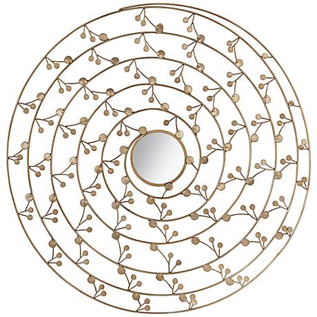 "Gold Metal 32"" Round Flower Wall Art With Mirror"