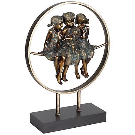 "Girls Together 13 3/4"" High Bronze Finish Sculpture"