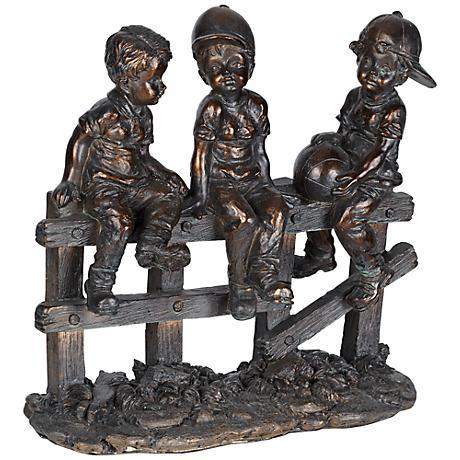 """Kids Sittin' on Fence 10"""" Wide Bronze Sculpture"""