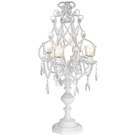 """Camille White 26"""" High 4 Taper Candelabra Candle Holder"""