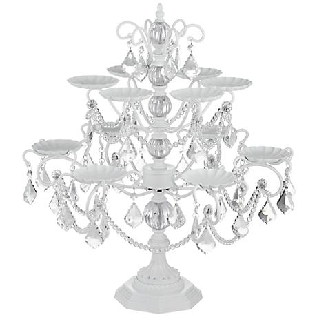 "Whitney White and Faux Crystal 22"" High Cupcake Stand"