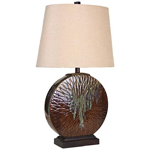 Cinnamon Ridge Bleeding Paint Round Ceramic Table Lamp
