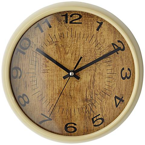 "Faux Wood And Black Transitional 10"" Round Wall Clock"