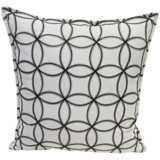 """Embroidered Circles Cream 18"""" Square Throw Pillow"""
