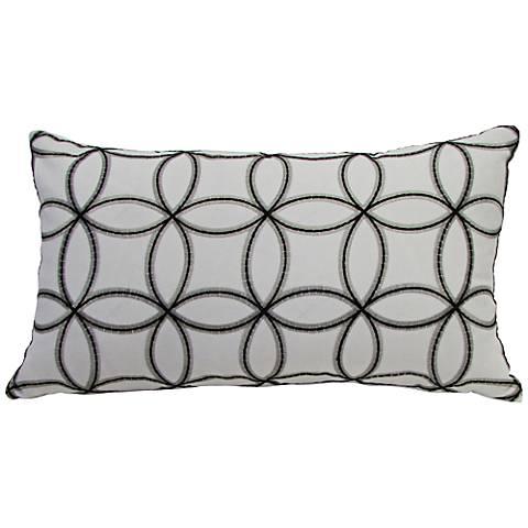 Embroidered Circles Cream Rectangular Throw Pillow