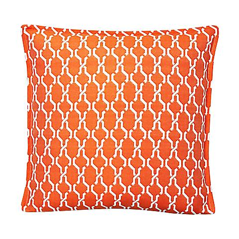 "Tangerine Chain 17"" Square Throw Indoor-Outdoor Pillow"