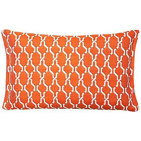 Tangerine Chain Rectangular Outdoor Throw Pillow