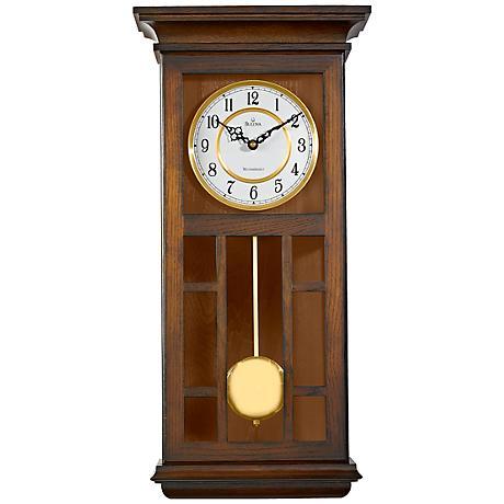 """Bulova Mayfair 24"""" High Rectangular Wooden Wall Clock"""